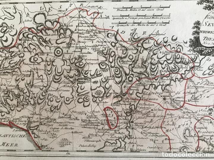 Arte: Mapa de Huelva y Sevilla (España), 1789. F. J. Joseph von Reilly - Foto 8 - 287917258