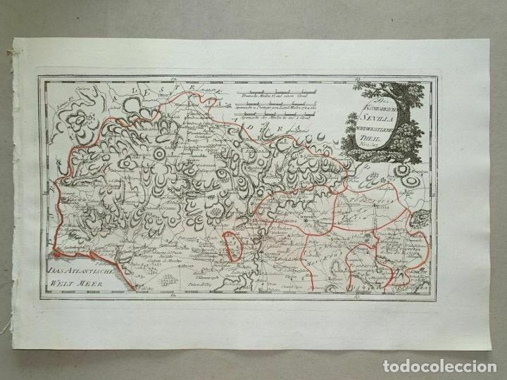 Arte: Mapa de Huelva y Sevilla (España), 1789. F. J. Joseph von Reilly - Foto 11 - 287917258