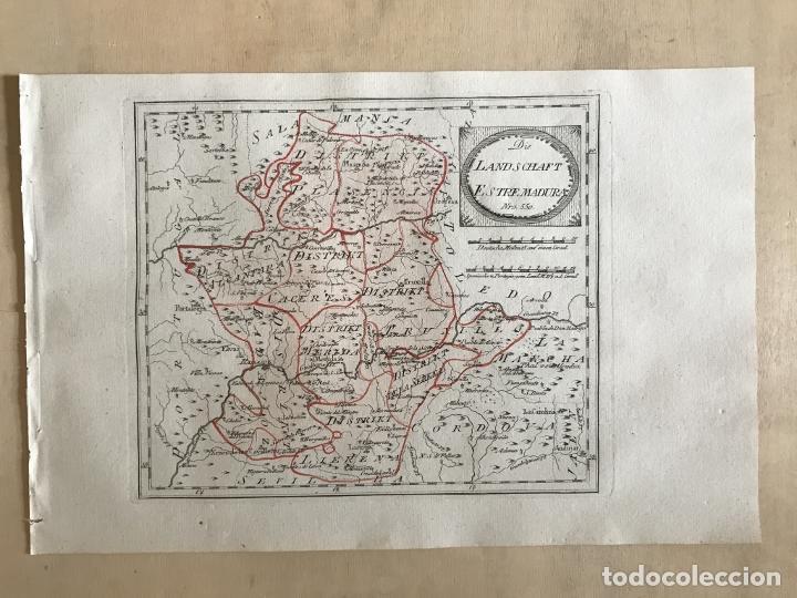 Arte: Mapa de Cáceres y Badajoz e inmediaciones (Extremadura, España), 1789. Reilly - Foto 2 - 287923918