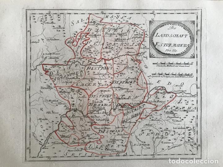Arte: Mapa de Cáceres y Badajoz e inmediaciones (Extremadura, España), 1789. Reilly - Foto 3 - 287923918