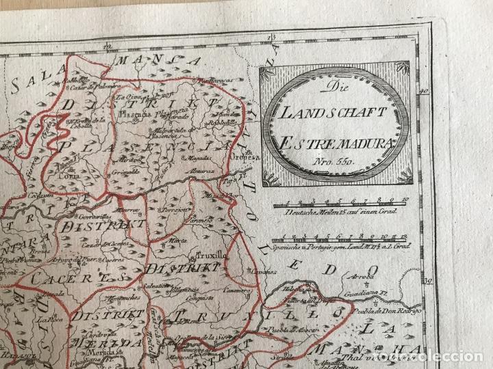 Arte: Mapa de Cáceres y Badajoz e inmediaciones (Extremadura, España), 1789. Reilly - Foto 5 - 287923918