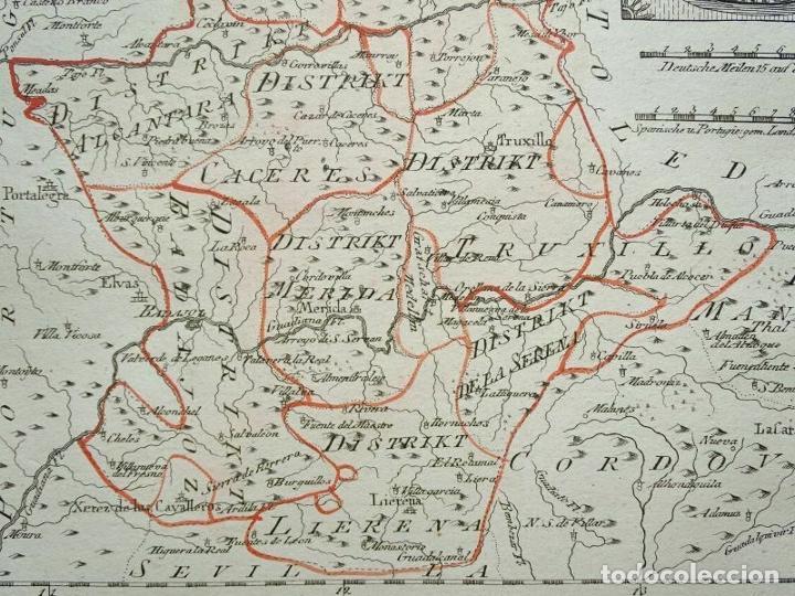 Arte: Mapa de Cáceres y Badajoz e inmediaciones (Extremadura, España), 1789. Reilly - Foto 10 - 287923918