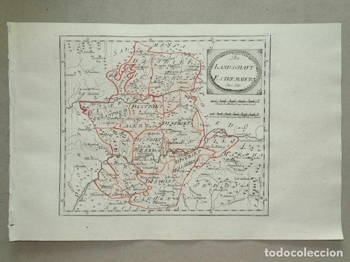 Arte: Mapa de Cáceres y Badajoz e inmediaciones (Extremadura, España), 1789. Reilly - Foto 11 - 287923918