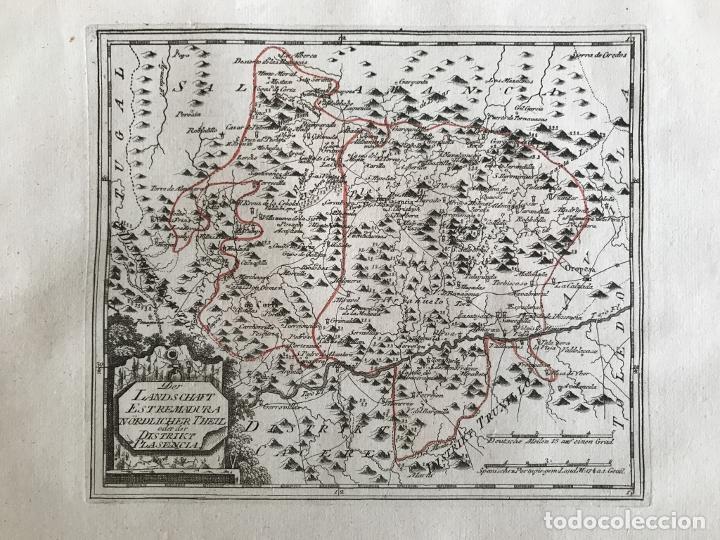 Arte: Mapa del norte de Cáceres e inmediaciones (Extremadura, España), 1789. Reilly - Foto 3 - 287927393
