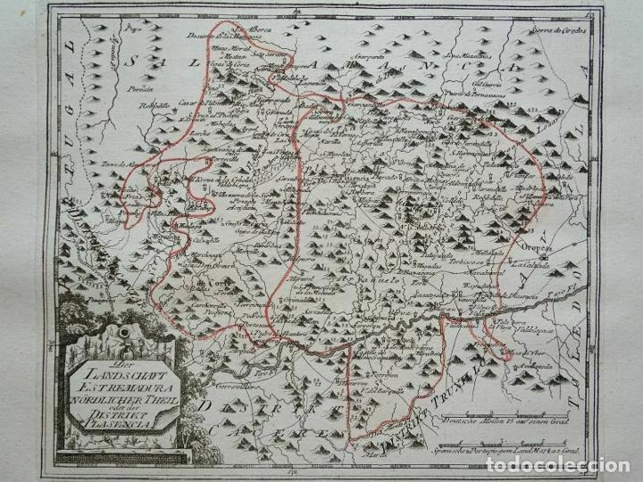 MAPA DEL NORTE DE CÁCERES E INMEDIACIONES (EXTREMADURA, ESPAÑA), 1789. REILLY (Arte - Cartografía Antigua (hasta S. XIX))