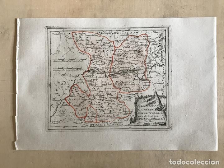 Arte: Mapa de Mérida y Badajoz e inmediaciones (Extremadura, España), 1789. Reilly - Foto 2 - 287930543