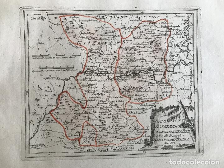Arte: Mapa de Mérida y Badajoz e inmediaciones (Extremadura, España), 1789. Reilly - Foto 3 - 287930543