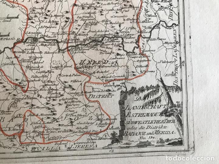 Arte: Mapa de Mérida y Badajoz e inmediaciones (Extremadura, España), 1789. Reilly - Foto 6 - 287930543