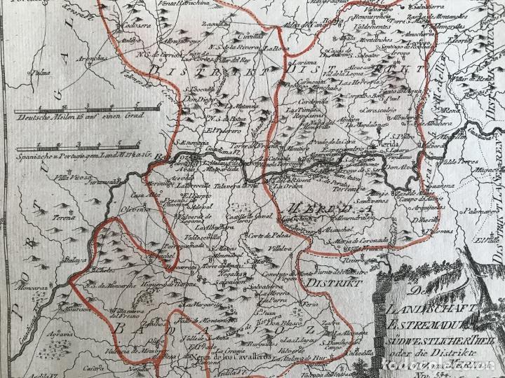 Arte: Mapa de Mérida y Badajoz e inmediaciones (Extremadura, España), 1789. Reilly - Foto 8 - 287930543