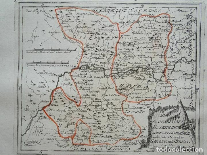 MAPA DE MÉRIDA Y BADAJOZ E INMEDIACIONES (EXTREMADURA, ESPAÑA), 1789. REILLY (Arte - Cartografía Antigua (hasta S. XIX))