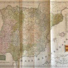 Arte: GRAN MAPA A COLOR DE ESPAÑA Y PORTUGAL, 1819. BARTOLOMEO BORGHI. Lote 288704013