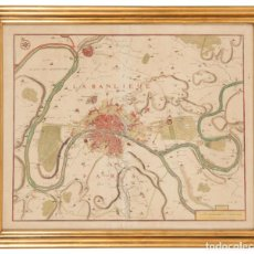 Arte: GRABADO COLOREADO MAPA GEOGRÁFICO DE PARÍS 1717 P. STARCKMAN. Lote 293725193