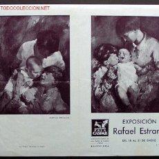 Arte: *RAFAEL ESTRANY* EXPO SALA GASPAR, BCN. 1941. FORMATO DÍPTICO 139 X 218 MMS.. Lote 2216039