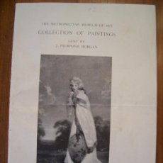 Arte: VENDO CATALOGO DE 1915 DEL THE METROPOLITAN MUSEUM OF ART- COLLECTION OF PAINTINGS LENT BY J. PIERP.. Lote 26388904