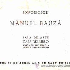 Arte: CATALOGO DE PINTURA AÑO 1959 PINTOR MANUEL BAUZA CASA DEL LIBRO. Lote 10498643