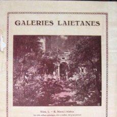Arte: GALERIES LAIETANES. PINTURA CATALANA. CATÁLOGO. 1930. Lote 25843176