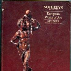 Arte: CATALOGO CASA DE SUBASTAS *SOTHEBY'S* NEW YORK (1987) - EUROPEAN WORK OF ARTS. Lote 24446688