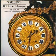 Arte: CATALOGO SUBASTAS * SOTHEBY'S * - BEL AMEUBLEMENT (MONACO 1989). Lote 26446297