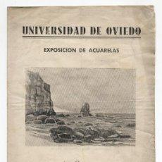 Arte: ANTIGUO FOLLETO EXPOSICION DE ACUARELAS JOSE M. BARCENA. UNIVERSIDAD DE OVIEDO. ASTURIAS. AÑOS 50. Lote 24909189
