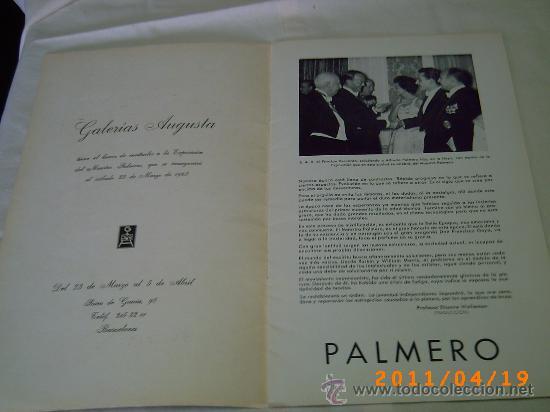 Arte: CATALOGO EXPOSICION DE PALMERO - GALERIAS AUGUSTA AÑO 1968 - BARCELONA - Foto 2 - 26379972