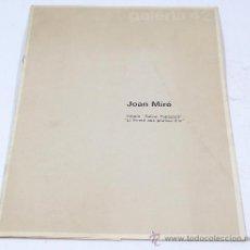 Arte: JOAN MIRÓ, ÁLBUM SALVAT PAPASSEIT, GALERIA 42. ABRIL 1974. 21X30 CM.. Lote 28572673