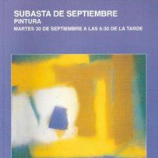 Arte: CATALOGO. PINTURA. SUBASTA. SUBASTAS SEGRE. SEPTIEMBRE 2011.. Lote 29873003