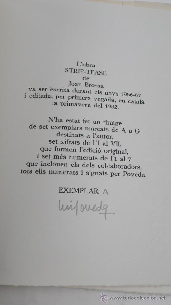 Arte: Joan Brossa. STRIP-TEASE. Tiraje A, de solo 22 ejemplares para el Autor. Año 1982 - Foto 3 - 30077421