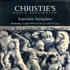 Arte: CHRISTIE'S IMPORTANT ANTIQUITIES 21-IV-1999 -CATÁLOGO DE SUBASTA DE OBJETOS DE ARQUEOLOGÍA. Lote 30960427