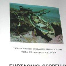 Arte: SEGRELLES. EUSTÁQUIO.EXPO1976.DICTICO 2 FOTOS.MD:27X22CM.3º PREMIO C.INTERNACIONAL .. Lote 31586134