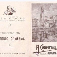 Arte: ANTONIO COMERMA.ESTAMPAS DE CATALUÑA.SALA ROVIRA.OCTUBRE 1983.DÍPTICO.17 X 12 CMTRS.. Lote 45909921