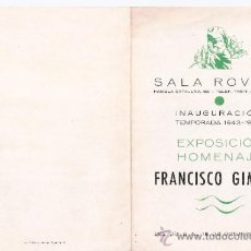 Arte: FRANCISCO GIMENO.OCTUBRE 1943.SALA ROVIRA. BARCELONA.DÍPTICO. 17 X 12 CMTRS.. Lote 35914834