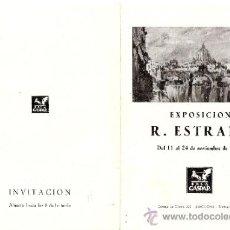 Arte: RAFAEL ESTRANY. NOVIEMBRE 1950. SALA GASPAR. BARCELONA. DÍPTICO. 17'5 X 12'5 CMTRS.. Lote 35925753