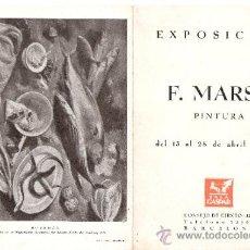 Arte: FRANCESC MARSÀ FIGUERAS. ABRIL 1944. SALA GASPAR. BARCELONA. DÍPTICO. 17'5 X 12'5 CMTRS.. Lote 35925986