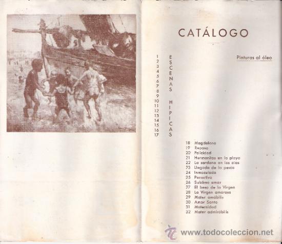 Arte: Rafael Estrany. Marzo 1944. Sala Gaspar. Díptico. 18'5 x 11 cmtrs. - Foto 2 - 35915201
