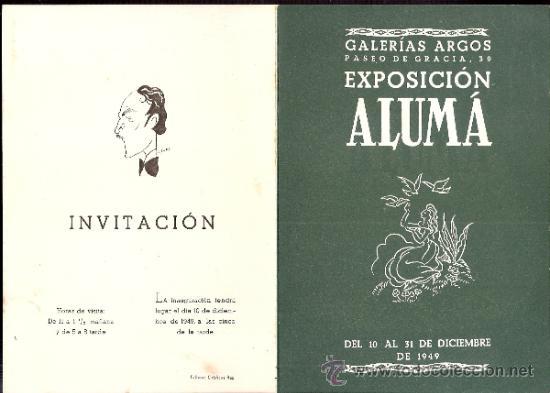 JORDI ALUMÁ.DICIEMBRE 1949. GALERÍA ARGOS. BARCELONA. DÍPTICO.17 X 12 CMTRS. (Arte - Catálogos)