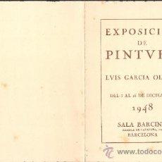 Arte: LUIS GARCÍA OLIVER. DICIEMBRE 1948. SALA BARCINO. BARCELONA. 16 X 12 CMTRS.. Lote 35981408