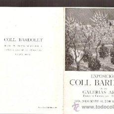 Arte: COLL BARDOLET. MAYO 1944. GALERIAS ARGOS. BARCELONA. DÍPTICO. 15'5 X 12 CMTRS. . Lote 35981590