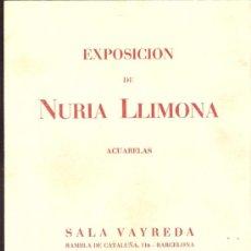 Arte: NURIA LLIMONA. FEBRERO 1951. SALA VAYREDA. BARCELONA. TARJETA. 15'5 X 12 CMTRS.. Lote 35998367