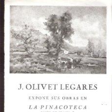 Arte: J. OLIVET LEGARES. FEBRERO 1954. LA PINACOTECA. 17 X 14 CMTRS . HOJA ( POSIBLE MITAD DE UN DÍPTICO).. Lote 35998622