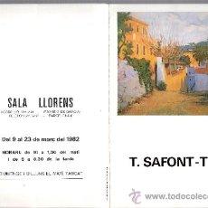 Arte: TOMÀS SAFONT-TRIA. MARZO 1982. SALA LLORENS. BARCELONA. TRÍPTICO. 21'5 X 14'4 CMTRS.. Lote 36035027