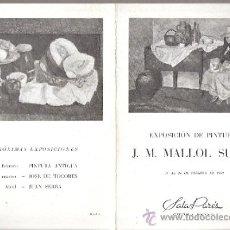 Arte: J. M. MALLOL SUAZO. FEBRERO 1950. SALA PARÉS. BARCELONA. DÍPTICO. 20 X 14 CMTRS.. Lote 36055600