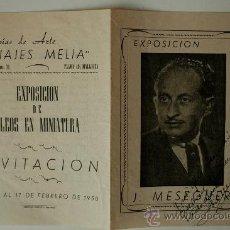 Arte: FOLLETO-CATÁLOGO EXPOSICION DE JOSE MESEGUER, SALA DARDO (MADRID) FIRMADO Y DEDICADO (1948). Lote 36862403