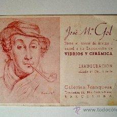 Arte: INVITACIÓN A EXPOSICIÓN DE VIDRIOS Y CERAMICA DE JOSÉ Mº GOL, GALERIAS FRANQUESA (BARCELONA). Lote 36902017