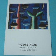 Arte: HOJA / CATÁLOGO EXPOSICIÓN VICENTE TALENS. 2004. REVERSO EXPOSICIONES INDIVIDUALES Y COLECTIVAS. Lote 37924720