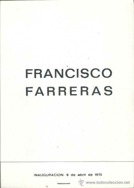 CATÁLOGO EXPOSICIÓN -FRANCISCO FERRERAS, 1975 GALERÍA LEZAMA-VALENCIA (Arte - Catálogos)