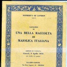 Arte: MAIOLICA ITALIANA (SOTHEBY'S, 1976). Lote 42224046
