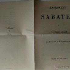 Arte: DÍPTICO CATALOGO-EXPOSICION ANTONIO SABATER, GALERIAS QUINT, 1950 . Lote 42271006