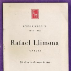 Arte: CATALOGO DE ARTE - SALA PARES / BARCELONA - EXPOSICION X - RAFAEL LLIMONA - AÑO 1942 - RD18. Lote 43447590