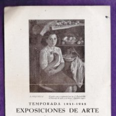 Arte: CATALOGO DE ARTE - SALA PARES / BARCELONA - EXPOSICIONES - TEMPORADA - AÑO 1942 - RD18. Lote 43447896