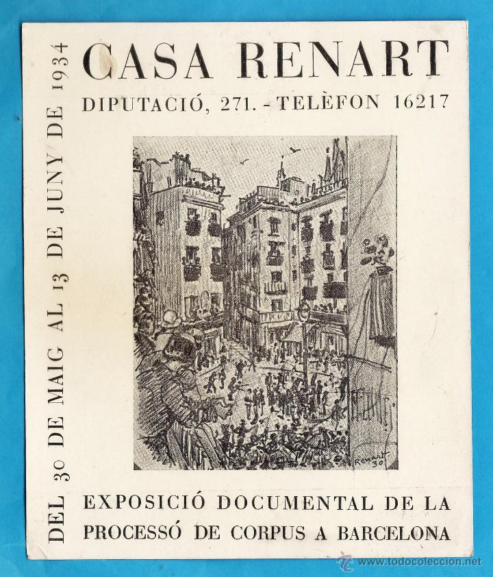 CATALOGO / INVITACION - EXPOSICIO DOCUMENTAL PROCESSO CORPUS - SALA RENART / BCN - AÑO 1934 (Arte - Catálogos)